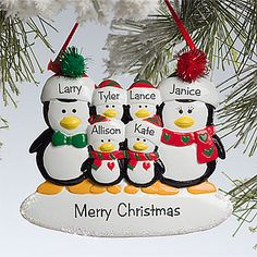 Personalized Family Christmas Ornaments - Penguins