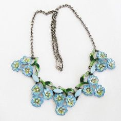 Coro Blue Enamel Flower Necklace 1942