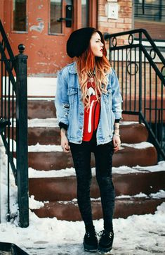 love this Rolling Stones shirt paired with a beanie and denim jacket