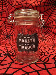 Items similar to Breath of the Dragon Glass Apothecary Jar - Horror Gothic Spooky Home Decor on Etsy Glass Apothecary Jars, Mason Jars, Dragon Glass, Clear Glass, Breathe, Handmade Items, Mugs, Tableware, Mug