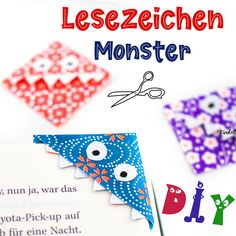These monster bookmarks can be easily and quickly tinkered with children. All you need to make these bookmarks is a piece of paper, glue stick, scissors and a pen. Popsicle Stick Crafts, Craft Stick Crafts, Fun Crafts, Diy And Crafts, Paper Crafts, Paper Glue, Preschool Crafts, Diy Paper, Diy Crafts For Kids Easy