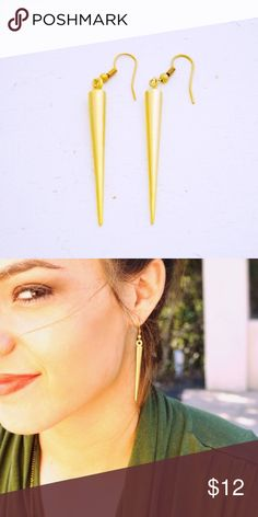 "NWT Spike Earrings in Gold NEW Simple and straightforward spike earrings. Hand cast and gold plated in Los Angeles. Hanging length is 2.5"".  Super cute with the Frida Kahlo Tee in Olive - see separate listing. Only one pair left! Luxe Jewelry Earrings"