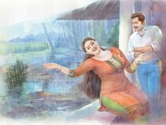 Indian Women Painting, Indian Art Paintings, Sexy Painting, Woman Painting, Kerala India, Pictures To Draw, Drawing Pictures, Comics Online, India Beauty