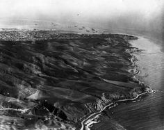 (1924)* - Aerial view of the Palos Verdes Peninsula, looking southeast towards Point Fermin.  San Pedro Harbor can be seen in the background...