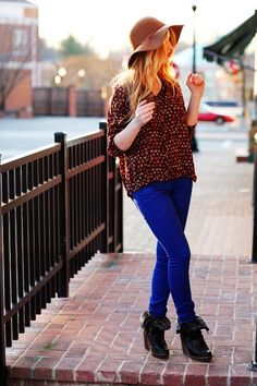 just colored pants + a pretty blouse!