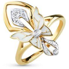 Кольцо Бабочка с бриллиантами, эмалью из желтого золота, цена снижена на 30%..