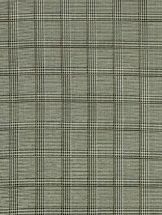 Petrus Fabric A large check fabric with a charcoal and pale green dogtooth weave and thin gold check.