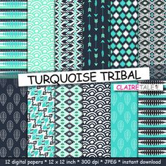 "Buy Tribal digital paper: ""TURQUOISE TRIBAL"" with tribal patterns and tribal backgrounds, arrows, feathers, leaves, chevron in turquoise by clairetale. Explore more products on http://clairetale.etsy.com"