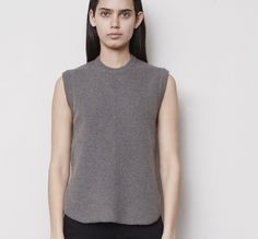 August 2015: Alexander Wang Oversized Knit Tank in Army. Denim x Alexander Wang 001 Slim Fit Denim in True Black.