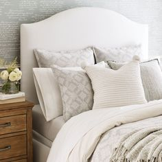 The Macie bed features a tightly upholstered headboard for a soft, sleek look with tapered walnut legs and is available in all of our upholstery fabrics. Aesthetic Room Decor, Upholstered Beds, New Living Room, Queen Beds, Quality Furniture, Dream Bedroom, Home Projects, Bedroom Furniture, Interior Design