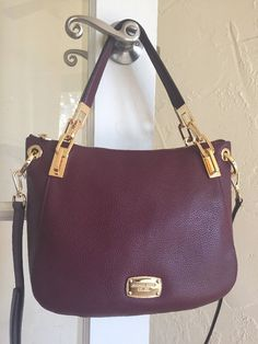 Michael Kors Brooke Medium Shoulder Tote Merlot Leather  | eBay