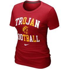 Nike USC Trojans Ladies Football Gridiron T-Shirt - Cardinal