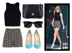 """""""Taylor Swift"""" by fashionimagination ❤ liked on Polyvore featuring T By Alexander Wang, River Island, Chanel, Giuseppe Zanotti and Ray-Ban"""