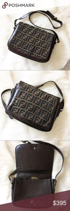 0fc81fd0ca Fendi Zucca Monogram Messenger Shoulder Bag 🖤 Authentic