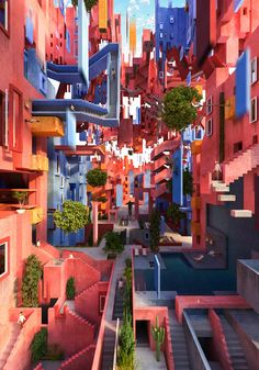 Tribute to Bofill Escher Gayarre Juan Colour Architecture, Architecture Drawings, Amazing Architecture, Interior Architecture, Modelos 3d, Colourful Buildings, Aesthetic Pictures, Beautiful Places, House Styles