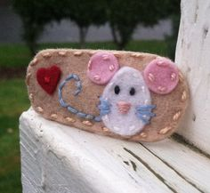 Mouse Champagne Wool Felt Snap Hair  Clip  by BerryCoolDesigns