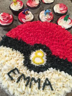 Our friend Emma was turning 8 and wanted a Pokemon cake. I am very familiar with Pokemon from my son. I knew right away I would make a Pokeball. This would be an easy design and would look good. Pokemon Cupcakes, Pokemon Birthday Cake, 10 Birthday Cake, Pokemon Party, Birthday Ideas, Birthday Parties, Birthday Fun, Pokeball Cake, Pikachu Cake