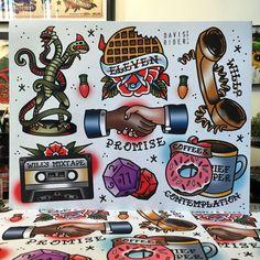 Stranger Things tattoo flash art by David Rider