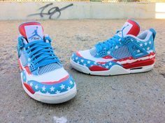 Air Jordan 4 'AMERICAN FLAG' Custom Sneakers Ⓙ_⍣∙₩ѧŁҝ!₦ǥ∙⍣