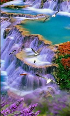 So picturesque. Lovely colours in this waterfall So picturesque. Lovely colours in this waterfall Scenery Pictures, Nature Pictures, Beautiful Nature Wallpaper, Beautiful Landscapes, Beautiful World, Beautiful Images, Landscape Photography, Nature Photography, Beautiful Waterfalls