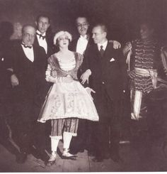 "Vaslav Nijinsky, Tamara Karsavina, Alexander Benois, Sergei Diaghilev and Serge Lifar after the performance, ""Petrushka"". 1929"