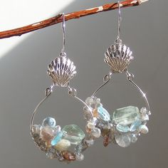 Glistening beaches.  Labradorite, Blue Topaz, Aquamarine, Andalusite Sterling Silver Hoop Earrings.