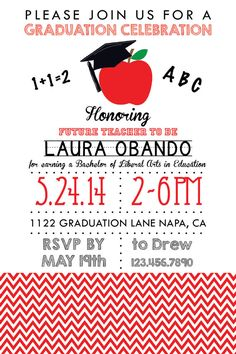Teacher Graduation Party Invitation Chevron Style by PuzzlePrints