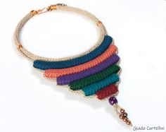Ethnic tribal crochet fiber necklace statement neck piece   Etsy Hippie Style, Hippie Boho, Tribal Style, Flower Choker, Hemp Jewelry, Crochet Necklace, Tribal Necklace, Unique Gifts For Her, Neck Piece
