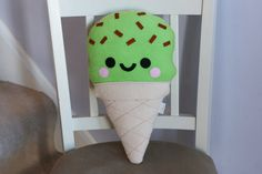 Mint Choc Chip Ice Cream Cushion Green Chocolate by hannahdoodle