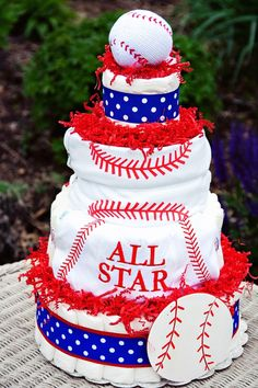 All Diaper Cakes - All Star Sports Theme Diaper Cake, $139.95 (http://alldiapercakes.com/all-star-sports-theme-diaper-cake/)