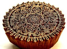 Intricate Detail In This Round Indian Textile Printing Wood Block   catfluff - Craft Supplies on ArtFire