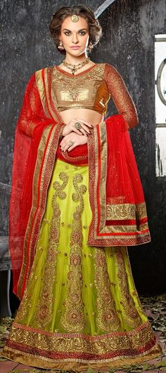 164855 Green  color family Mehendi & Sangeet Lehenga in Net fabric with Border, Machine Embroidery, Patch, Resham, Stone, Zari work .