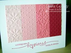 Embossing cards...lots of different textures.