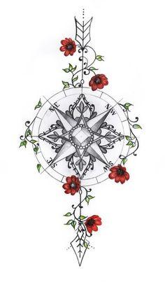 Mandala boussole par jrizzybabbyxoxo sur Etsy Mandala boussole par jrizzybabbyxoxo s. Feminine Compass Tattoo, Mandala Compass Tattoo, Compass Drawing, Compass Tattoo Design, Arrow Tattoo Design, Arrow Compass Tattoo, Tattoo Drawings, Body Art Tattoos, Sleeve Tattoos