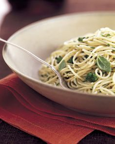 Angel Hair Pasta with Broccoli and Herb Butter -- Made this last night with half olive oil instead of all butter and it turned out really yummy.  Sometimes its the simple things that just taste so good.