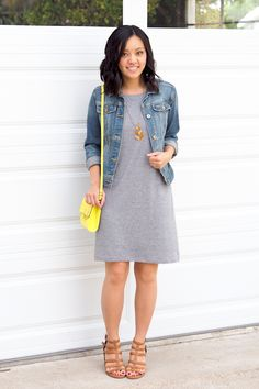 Putting Me Together: Jersey Dress Wins Every Time - grey shirt, jean jacket, sandals