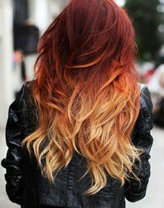 Dark red to blonde ombre
