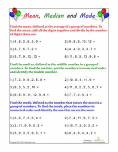 Worksheets: Mean, Median and Mode Practice