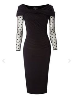 Pied a Terre Spot sleeve Slinky Knot Jersey Dress Black - pied a terre