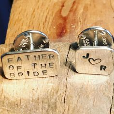 Stamped lapel pin & tie tacks - monogram, father of the bride. Special occasion