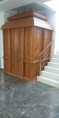 House Main Door Design, Pooja Room Door Design, Classic House Design, Home Room Design, Temple Design For Home, Indian Home Design, Home Temple, Wooden Temple For Home, Living Room Partition Design