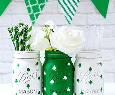 Painted shamrock mason jars - mason jar crafts for st patrick day