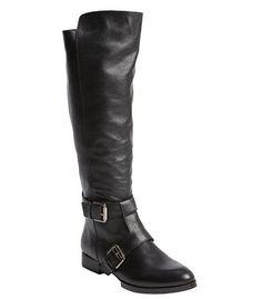 Kelsi Dagger Black Leather Buckle-Strap Karavan Riding Boots ($187)