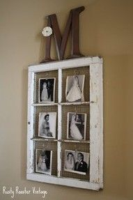 Monogram and antiqued window as picture frame