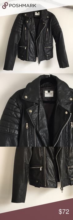 TOPMAN REAL LEATHER MOTO JACKET Amazing Black moto/ biker leather jacket REAL LEATHER!!!  Multiple zippers, all functioning GREAT GREAT Condition!!!  Brand: TOPMAN size: M Topman Jackets & Coats
