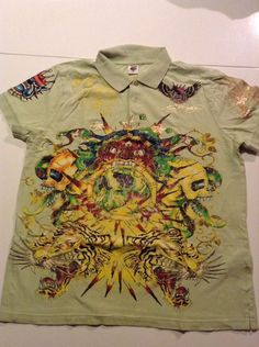 Ed Hardy Polo Shirt For Men XL Green Multicolor With Design #EdHardy #BasicTee