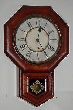 ANTIQUE ANSONIA, NEW YORK, SHORT-DROP OCTAGON REGULATOR 8-DAY WALL CLOCK SCHOOLHOUSE WORKING CLOCK VERY NICE ANTIQUE WALL CLOCK, MADE IN NEW YORK, BY ANSONIA CLOCK COMPANY, CIRCA 1900. MOVEMENT IS IN