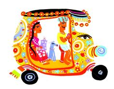Vibrant colours and madhubani folk art styling with the profile faces - super decorative - love Christopher Corr