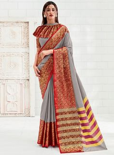 Gray Silk Festival Wear Saree With Designer Blouse 118848 Stylish Blouse Design, Fancy Blouse Designs, Blouse Neck Designs, Fancy Sarees, Silk Sarees, Indian Outfits, Indian Clothes, Saree Blouse Patterns, Indian Blouse