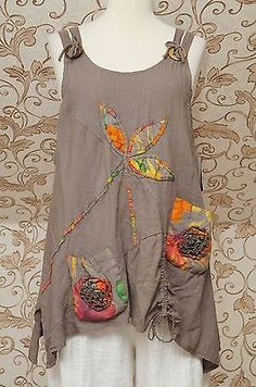 STUNNING BROWN PINAFORE LINEN LONG TUNIC QUIRKY POINTED LAGENLOOK (OVER) TOP